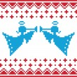 Knitted christmas vector angles card on seamless background — Stock Vector
