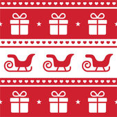 Christmas card, seamless pattern with santa's sledges and present — Vetorial Stock