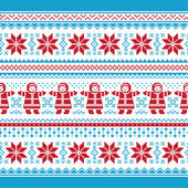Christmas vector card - traditional knitted pattern — Stock Vector