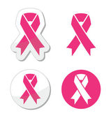 Vector set of pink ribbons symbols for breast cancer awareness — Stockvector