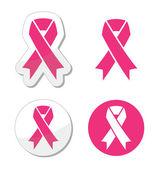 Vector set roze linten symbolen voor borst kanker bewustzijn — Stockvector
