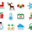 Christmas winter black icons set as labels — Stock Vector