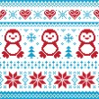 Christmas and Winter knitted pattern, card - scandynavian sweater style — Imagens vectoriais em stock