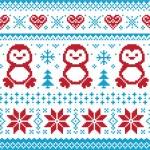 jul och vinter stickad mönster, kort - scandynavian tröja stil — Stockvektor
