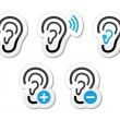 Stock Vector: Ear hearing aid deaf problem icons set as labels