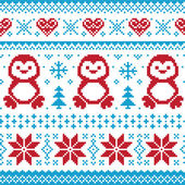 Christmas and Winter knitted pattern, card - scandynavian sweater style — Vector de stock