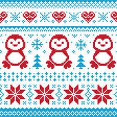 Kerstmis en winter gebreide patroon, kaart - scandynavian trui stijl — Stockvector