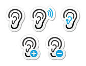 Ear hearing aid deaf problem icons set as labels — Stok Vektör