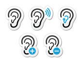 Kulak işitme cihazı sağır sorun simgelerin etiketleri olarak ayarla — Stok Vektör