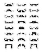 Moustache / mustache icons isolated set as labels — Stock Vector