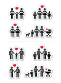 Gay, lesbian couples and family with children icons set — Stok Vektör