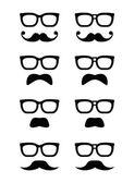 Friki gafas y bigote o bigote iconos vectoriales — Vector de stock