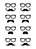 Geek glasses and moustache or mustache vector icons — Stock Vector