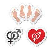 Couple sex, making love icons as labels set — Vetor de Stock