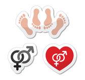 Un par de sexo, hacer el amor los iconos como conjunto de etiquetas — Vector de stock