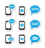 Mobile sms text message mail icons set as labels — Stock Vector