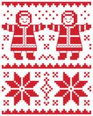 Cartolina di natale vettoriali - illustrazione tradizionale modello a maglia — Vettoriale Stock