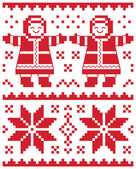 Christmas vector card - traditional knitted pattern illustration — Stock Vector