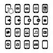 Mobile or cell phone, smartphone, contact icons set — Stock Vector #15553295