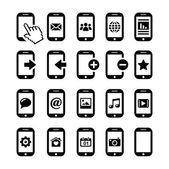 Mobiele of mobiele telefoon, smartphone, contact pictogrammen instellen — Stockvector