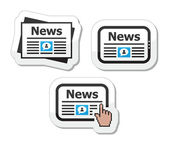 Newpaper, news on tablet icons set as labels — Stock Vector