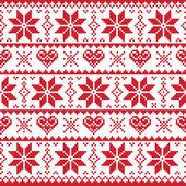Kerstmis gebreide patroon, kaart - scandynavian trui stijl — Stockvector