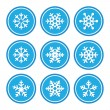 Royalty-Free Stock Imagen vectorial: Snowflakes icons as retro labels