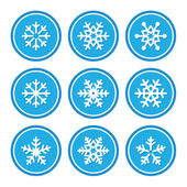 Snowflakes icons as retro labels — Stock Vector