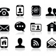 Contact black icons set - mobile, user, email, smartphone — Stock Vector