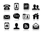 Contact black icons set - mobile, user, email, smartphone — Stockvektor