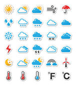 Weather icons set as labels - vector — Stok Vektör