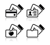 Hand holding credit card, business card, ID icons set — Stockvector