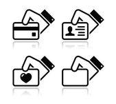 Main tenant la carte de crédit, carte de visite, jeu d'icônes d'id — Vecteur