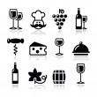 Wine icons set - glass, bottle, restaurant, food — Stock Vector #15845833