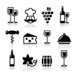 Royalty-Free Stock Vector Image: Wine icons set - glass, bottle, restaurant, food
