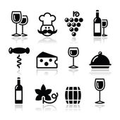 Wine icons set - glass, bottle, restaurant, food — Stock Vector