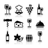 Wine icons set - glass, bottle, restaurant, food — Stock Vector