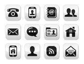 контакт, черные кнопки set - мобильный, телефон, электронная почта, конверт — Cтоковый вектор