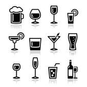 Dricka alkohol dryck ikoner set — Stockvektor