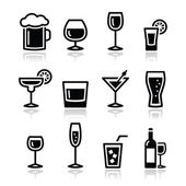 Drink alcohol beverage icons set — Vettoriale Stock