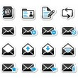 Email mailbox vector icons set as labels — Stock Vector