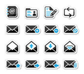 Email mailbox vector icons set as labels — Wektor stockowy