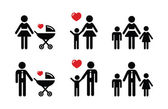 Single parent sign - family icons — Stock Vector