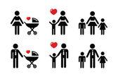 Single parent signe - icônes familles — Vecteur