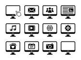 Computer screen black icons set — Stock Vector