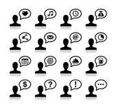 общение пользователей, черные иконки набор — Cтоковый вектор