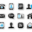 Contact icons set as labels - mobile, user, email, smartphone — Stock Vector