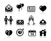 爱情人节黑色图标集 — 图库矢量图片