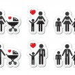 Single parent sign - family icons as labels — Stock Vector #16492913
