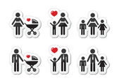 Single parent sign - family icons as labels — Stock Vector